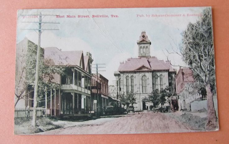 Bellville Texas 1910 Main Street Old Courthouse Austin County Pub by Roensch | eBay