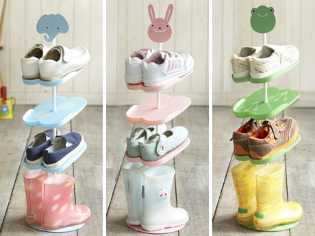 Kids' Shoe Rack  				Put little kicks in one sole spot. The Japanese-designed tower made from matte-finish plastic stacks boots, sandals, and sneaks in a nonobtrusive way. Pick an elephant, frog, or rabbit topper.Available at mysweetmuffin.com, 29.50.