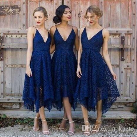 Navy Blue Irregular Hem Tea Length Country Bridesmaid Dresses 2018 Blush  Lace V-neck Spaghetti Garden Maid of Honor Wedding Guest Gown Mermaid Wedding  Dress ... d941c94d17e1