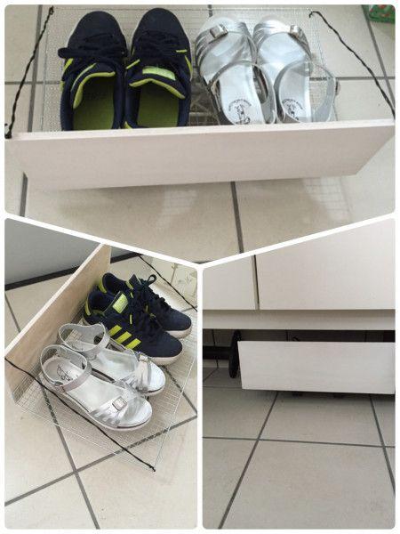 大人用の靴置いても大丈夫! 下駄箱下の可動式収納DIY