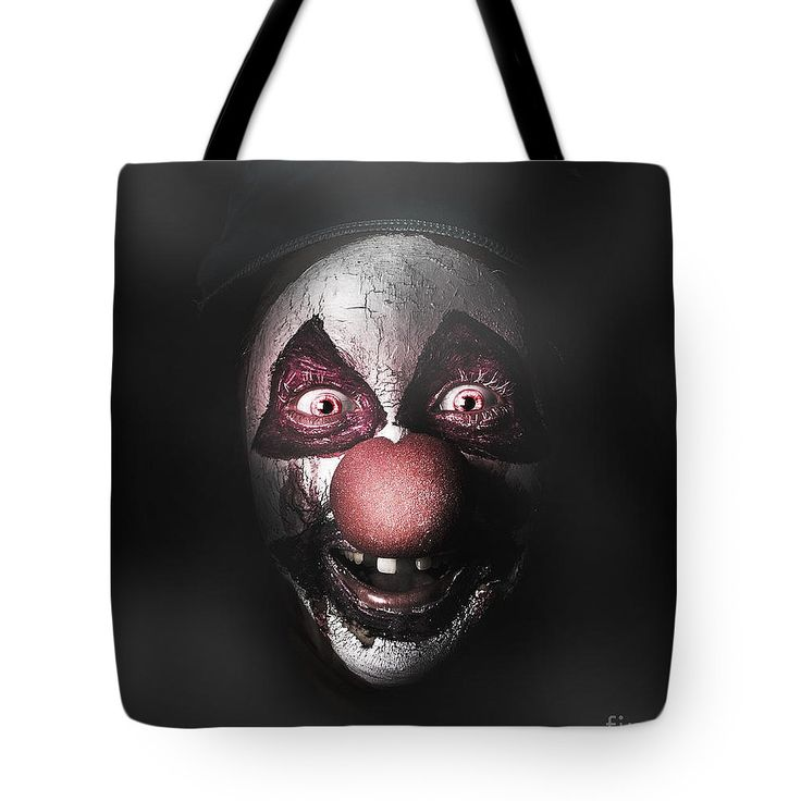 Clown Tote Bag featuring the photograph Dark Evil Clown Face With Scary Joker Smile by Jorgo Photography - Wall Art Gallery