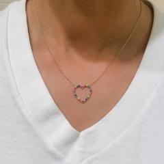 Rainbow Gemstone Heart Shape Frame 14K Gold Necklace, Medium Size