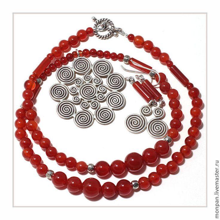 Купить Комплект украшений СПИРАЛИ - рыжий, серебро, комплект украшений, этно, сердолик натуральный