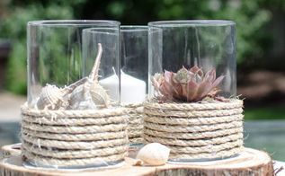 diy pottery barn inspired rope wrapped hurricanes, crafts, how to, outdoor living, repurposing upcycling
