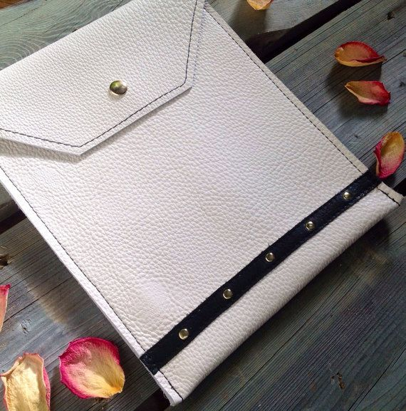 Eggshell White Ipad Case with Black Band and Gold Studs by HeartnSoulHandbags, $80.00