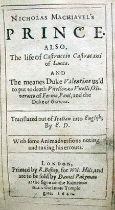 """La traducción al inglés de """"El Príncipe"""", de Nicolás Maquiavelo. De la primera edición de esta traducción de Edward Dacre realizada en 1532, sólo se conocen tres copias."""