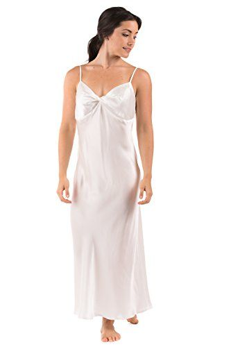 Women's Long Silk Nightgown - Caviar Noir (Natural White, Medium) - 100% Silk - Gifts Women Her Personal Silk Gifts Presents Ideas Women; Bridal Shower Gift Ideas Wedding Gifts for Bride Engagement Gifts Her Sister WS0401-NWH-M