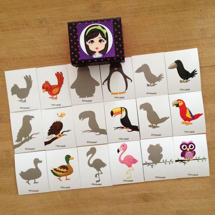 Pia Polya Kuş'un Gölgesini Bul Oyunu Kartları 12ay ve 48ay çocuklar içindir. A3