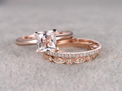 Nice  mm Princess Cut Morganite Wedding Set Diamond Bridal Ring k Rose Gold Art Deco Matching