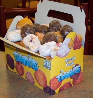 Timbits are celebrating a 35th Birthday, Contrary to popular thought they are not the bits left from the middle of the donut, they are made separately