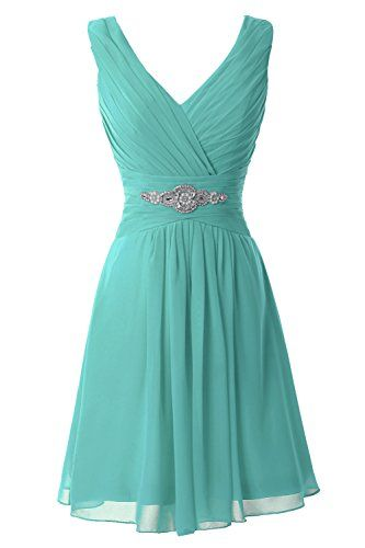 Erosebridal V-Neck Short Bridesmaid Dresses Chiffon Evening Dress Aqua US 8…