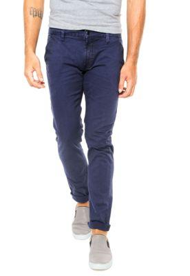 Calça Sarja Calvin Klein Jeans Chino Azul, com quatro bolsos, passantes para…