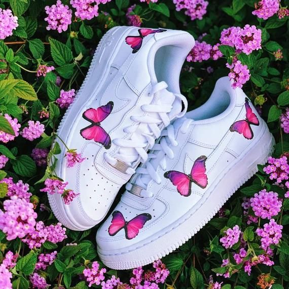 Pink Butterfly Air Force 1s | Custom Sneakers, Air Force 1s