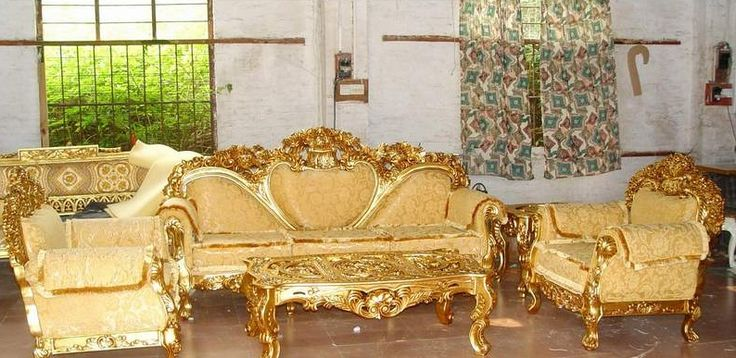 Luxury European Style Antique Style Sofas Gold Color