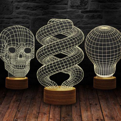 Trójwymiarowa lampa. Dostępne 3 modele: spirala, czaszka, świat   #lampa #lampka #3dlamp