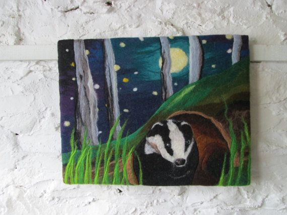 badger picture woodland scene starry night by SueForeyfibreart