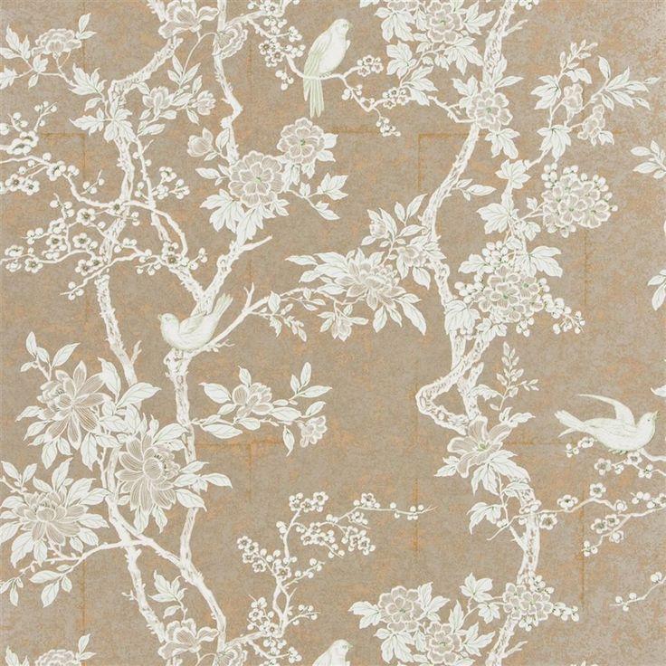 marlowe floral - mother of pearl sterling wallpaper | Ralph Lauren