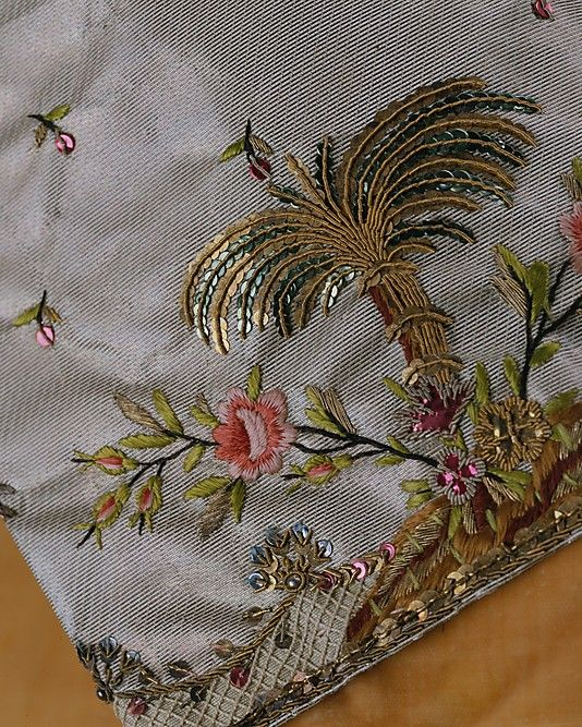 Detail of silk waistcoat, circa 1765, French.