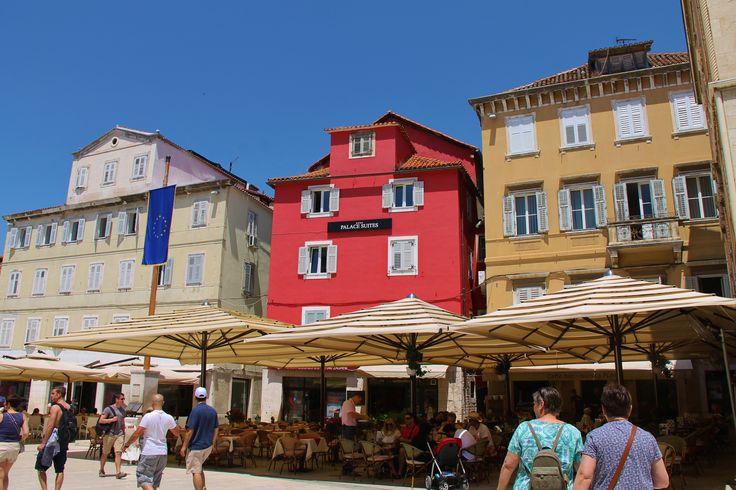 Lots of shutters on coloured houses- Split, Croatia