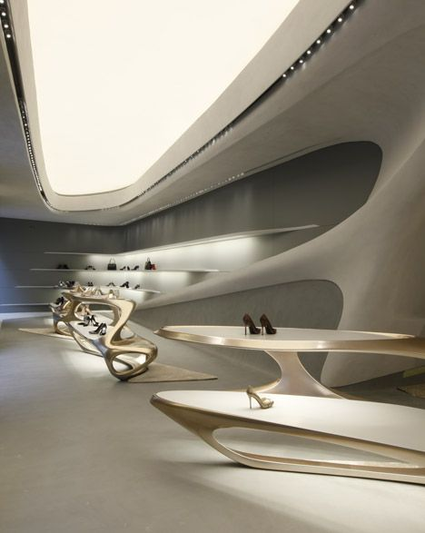 Futuristic Architecture, Stuart Weitzman shoe boutique by Zaha Hadid Aaaah, Stuart Weitzman and Zaha Hadid together = MAGIC!