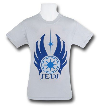Hailing from Tython and the Old Republic, the 100% cotton Star Wars Jedi Symbol Silver T-Shirt features the symbol of the ancient and exceptionally powerful Jedi Order. Sometimes, they protect the entire galaxy and sometimes...nobody knows where they are! I guess we have the Sith to thank for that, right? Perfect for any Force-Sensitive, the Star Wars Jedi Symbol Silver T-Shirt will immediately conscript you as a Padawan learner. At least nobody will call you 'youngling', right?