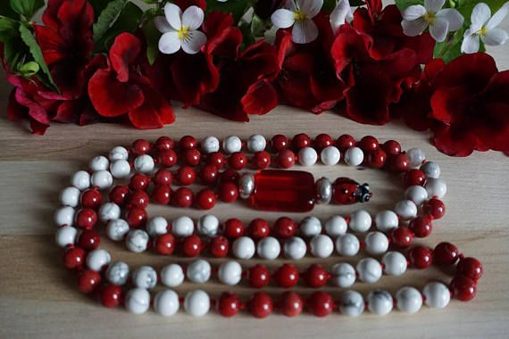 Healing Mala Necklace 108 Beads Coral and Howlite Red and
