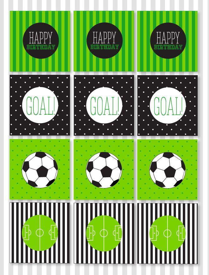 Fútbol para imprimir fiesta Cupcake Toppers descarga | Etsy