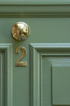 Front door painted in Calke Green No.34