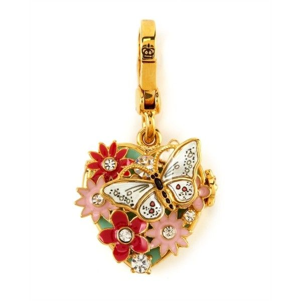 Flower Locket Charm ($23) ❤ liked on Polyvore featuring jewelry, pendants, charms, accessories, fillers, juicy couture, heart locket charms, crown charm, heart jewellery and butterfly charm