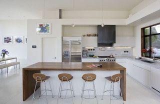 waterfall edgeKitchens Design, Contemporary Kitchens, Interiors Design, Kitchens Islands, Kitchens Counter, Open Kitchens, Modern Kitchens, Counter Stools, White Kitchens