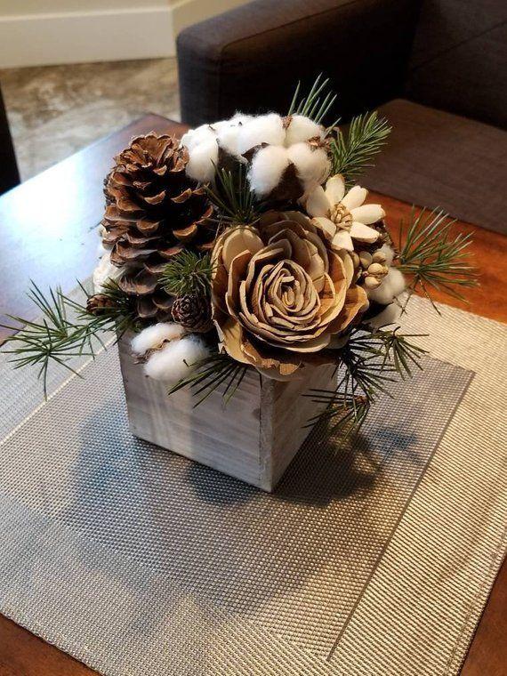 Sola Wood Centerpiece Pinecone Centerpieces Wedding Reception