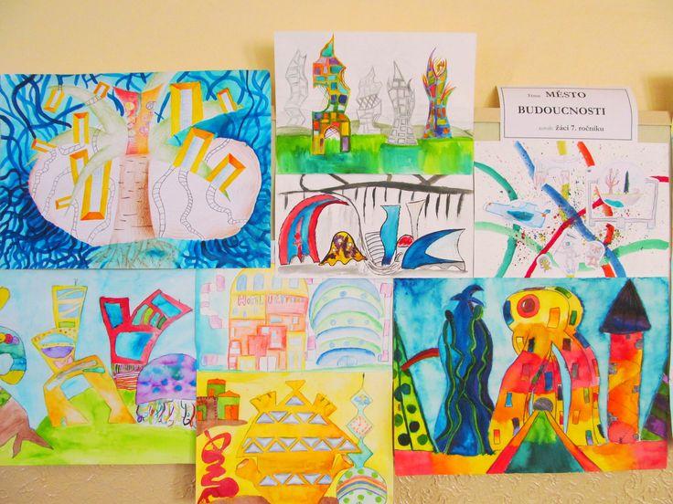 Město budoucnosti - anilinové barvy, tužka, pastelky, 7. ročník