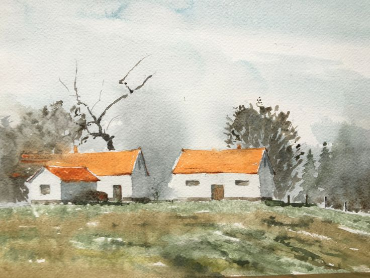 Houses. Watercolor.