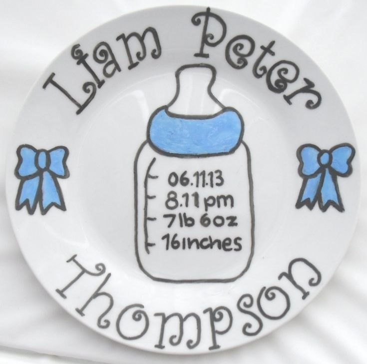 Newborn baby birth plate in blue www.facebook.com/sazelgifts