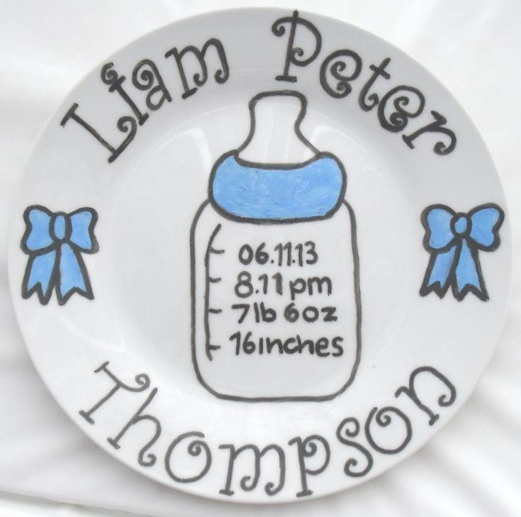 Newborn baby birth plate in blue www.facebook.com/sazelgifts