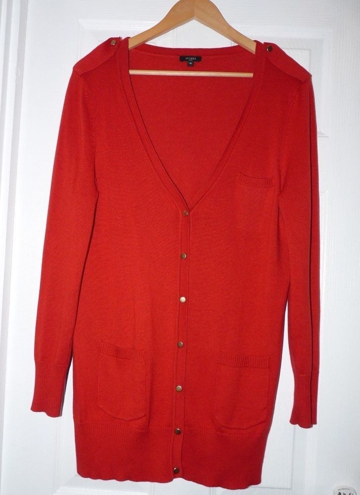 67962f674a0 Hobbs Size 16 Long Line Red Cardigan long sleeve V neck Wool Cotton ...