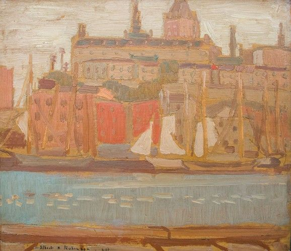 Albert H. Robinson - Quebec Harbour (1924) 11.25 x 13 Oil on panel