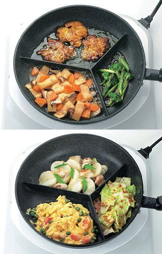 Cook different dishes at once with this three sectioned fry pan except using various pans. It has three barriers that help you to cook tasty side dishes separately in a pan with saving your time. It's also easy to clean up for non-stick surface and non annoying corners. This innovative sectioned fry pan comes from a Japanese company. Price $44.99