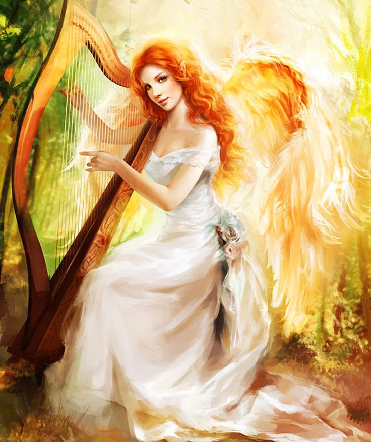 ангелы с арфами картинки