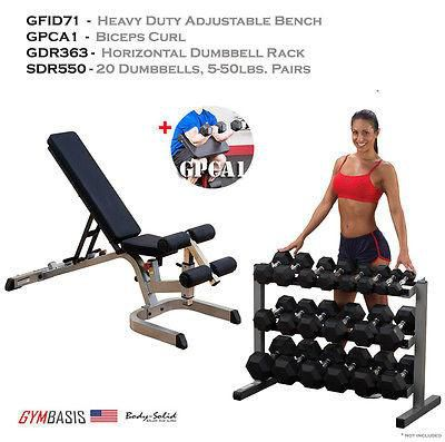Body-Solid GFID71 Bench, GPCA1 Bicep Curl, Rubber Dumbbells 5-50lb, Rack GDR363