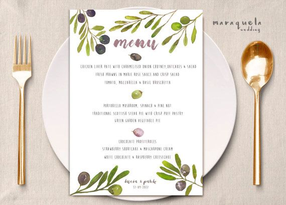 Watercolor Wedding MENU,olives leaves,LUCIA collection,MenuTemplate,Printable Wedding Card,green,olive Menu Card,printable,digital,download by MARAQUELA