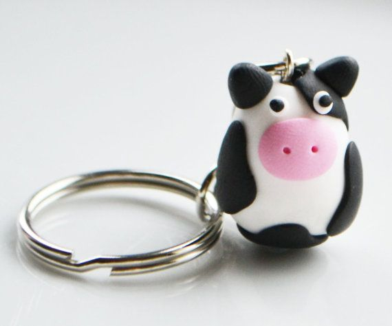 Cow Keyring Keychain Fimo Polymer Clay by SweetnNeatJewellery