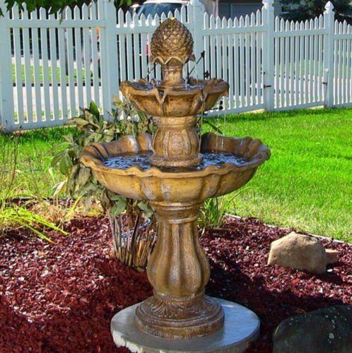 2 Tier Yard Fountain Water Outdoor Garden Gardening Electric Pump Outside  Decor