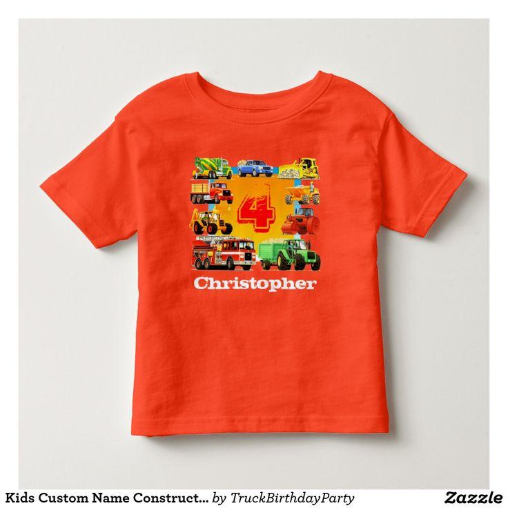 Kids Custom Name Construction Truck 4th Birthday T-shirt
