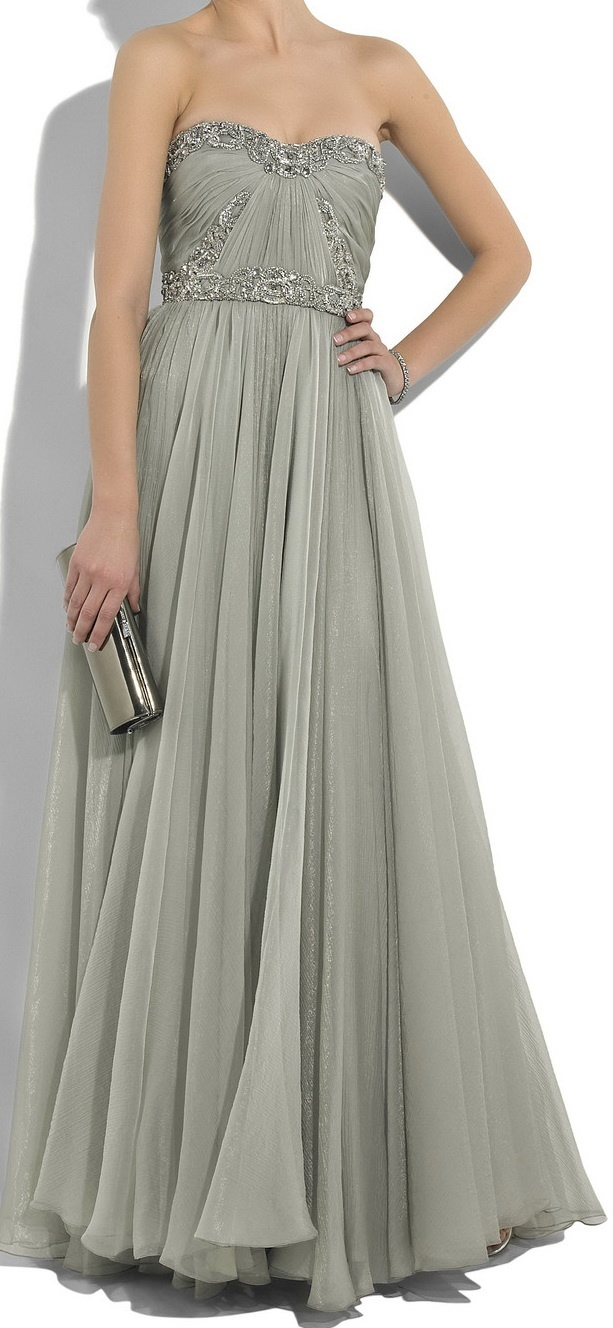 MARCHESA Embellished silk-chiffon gown