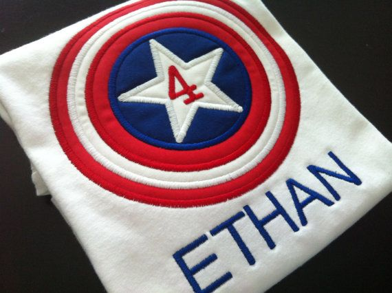Hero Applique   Captain America Birthday Shirt. So getting this for A!