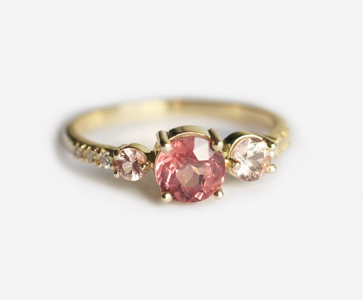 Cluster Engagement Ring, Peach Sapphire and Malaya Garnet Engagement Ring, Cluster Wedding Ring, Peach Engagement Ring by MinimalVS on Etsy https://www.etsy.com/listing/264088616/cluster-engagement-ring-peach-sapphire