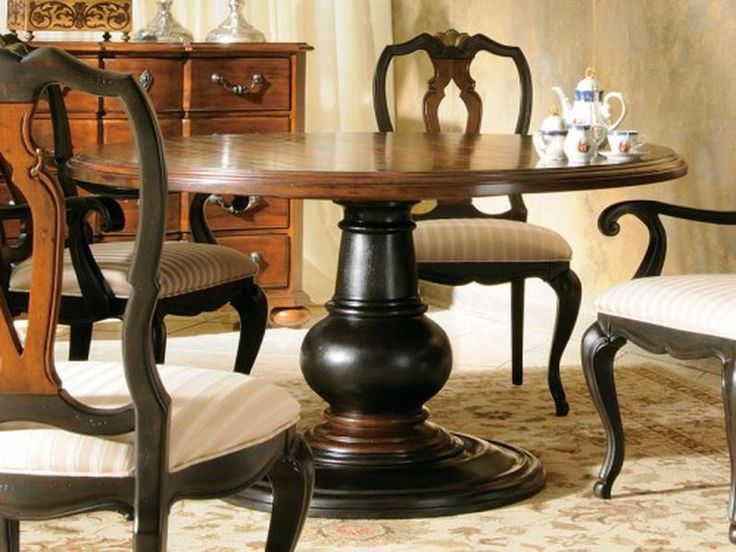 Wooden Round Dining Table Classic Design With Tea Set And Wooden Cupboard ~  Http:/