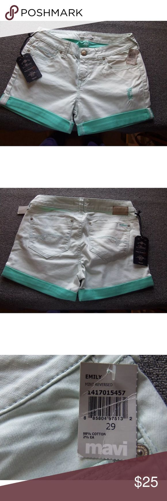 "NEW MAVI EMILY Mint Green Denim Jean Shorts Sz 29 NEW MAVI SHORTS   STYLE: ""EMILY"" STRETCH DENIM/JEAN SHORTS  98% COTTON 2% ELASTANE  COLOR and / or WASH:  MINT GREEN  TAG SIZE: 29  Apx. Hand Measurements:  WAIST: 32  ( waist-side to side at waist x 2 )  INSEAM: 3.5  ( inseam-leg straight out measuring from crotch to hem )  RISE: 9  ( front rise-top of waist to mid crotch seam )  HIPS: 38  ( largest part of hip-side to side x 2 )  CONDITION : NEW WITH TAG. As pictured. Color may vary from…"