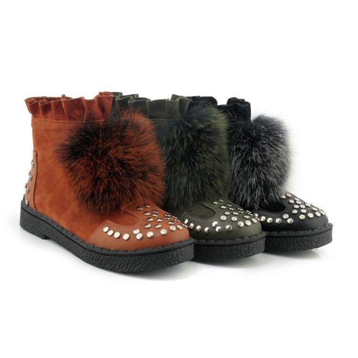Hot Womens Round Toe Boots Rivet Short Winter Boots Flat Warm Rabbit Fur Shoes